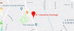 Gastonia Location of A1 Insurance on Google Maps