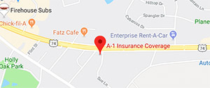Shelby Location of A1 Insurance on Google Maps